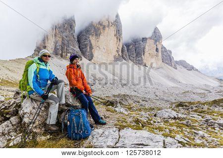 Hike mountain in the Dolomites, the trail Tre Cime di Lavaredo