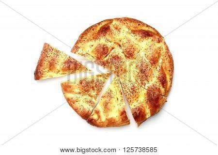 Fresh Sliced Pita isolated on white background.
