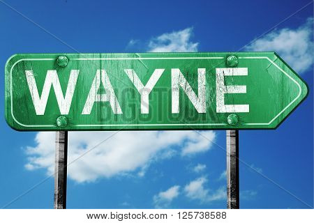 wayne road sign on a blue sky background