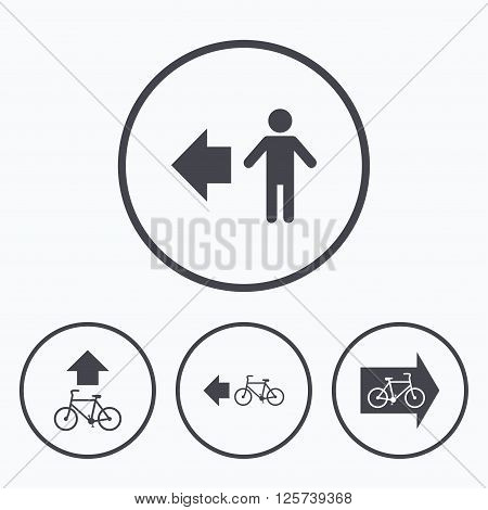 Pedestrian road icon. Bicycle path trail sign. Cycle path. Arrow symbol. Icons in circles.