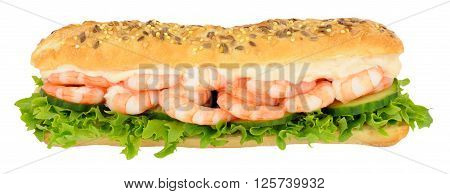 Sub roll sandwich filled with prawns and salad isolated on a white background
