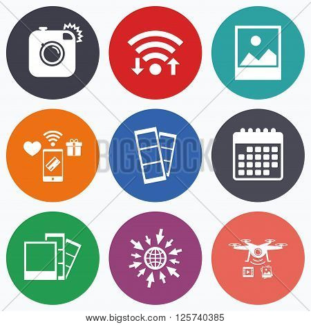 Wifi, mobile payments and drones icons. Hipster photo camera icon. Flash light symbol. Photo booth strips sign. Landscape photo frame. Calendar symbol.