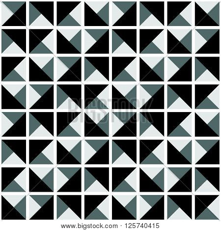Abstract Black And White Seamless Ornamental Geometric Polygonal Vector Pattern