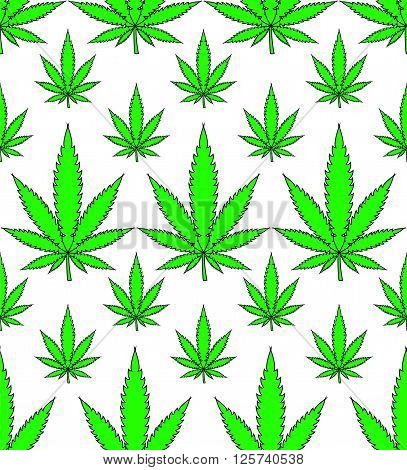 Medical Marijuana Leafs Seamless Vector Background Pattern