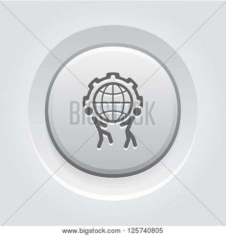 Global Support Icon. Business Concept. Grey Button Design