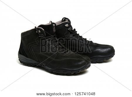 Black man's boots isolated on a white background.