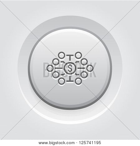 Investing Diversification Icon. Business Concept. Grey Button Design