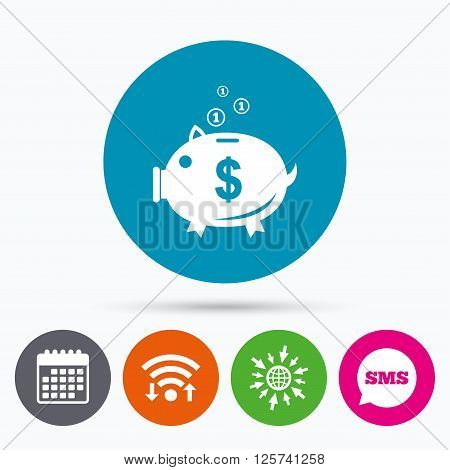 Wifi, Sms and calendar icons. Piggy bank sign icon. Moneybox dollar symbol. Go to web globe.