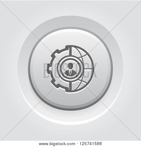 Global Integration Icon. Business Concept. Grey Button Design
