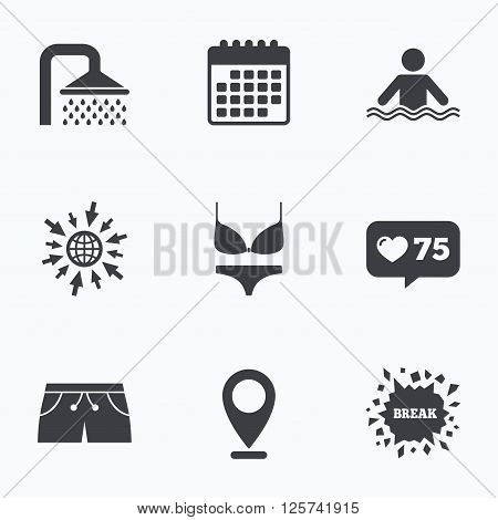 Calendar, like counter and go to web icons. Swimming pool icons. Shower water drops and swimwear symbols. Human stands in sea waves sign. Trunks and women underwear. Location pointer.