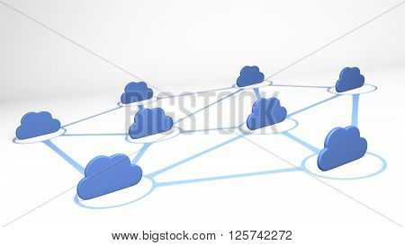 Cloud connection netconcept, cloud isolated on white - 3D render
