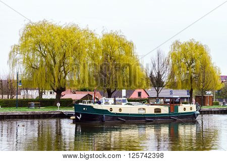 Little Yacht Sailing On Marne-rhin Canal In Saverne, France