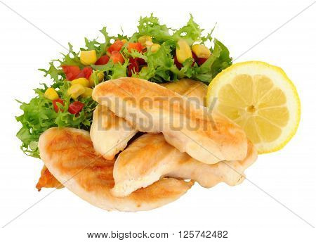 Cooked chicken breast fillets with salad and lemon isolated on a white background