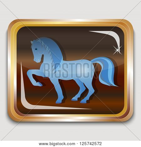 Year blue wooden horse on the eastern horoscope. Square icon. Vector illustration.