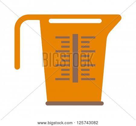 Empty measuring cup glass cooking liquid utensil measurement kitchen tool vector illustration.