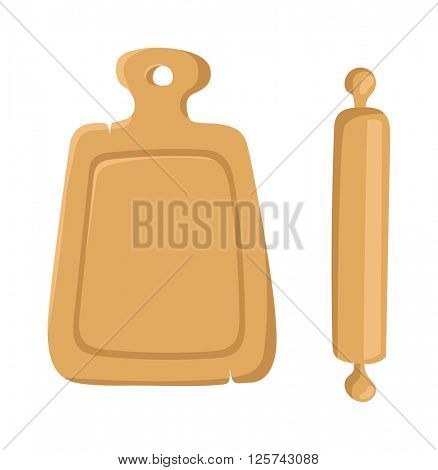 Cutting cooking board with rolling pin natural wooden kitchen tools design top view vector illustration.