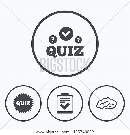 Quiz icons. Human brain think. Checklist symbol. Survey poll or questionnaire feedback form. Questions and answers game sign. Icons in circles.