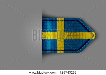Flag of Sweden in the form of a glossy textured label or bookmark. Vector illustration.
