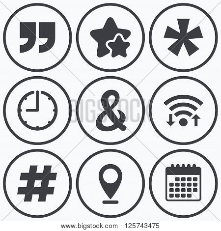 Clock, wifi and stars icons. Quote, asterisk footnote icons. Hashtag social media and ampersand symbols. Programming logical operator AND sign. Calendar symbol.