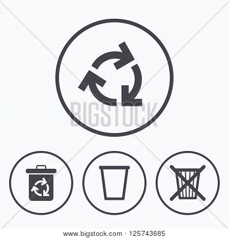 Recycle bin icons. Reuse or reduce symbols. Trash can and recycling signs. Icons in circles.
