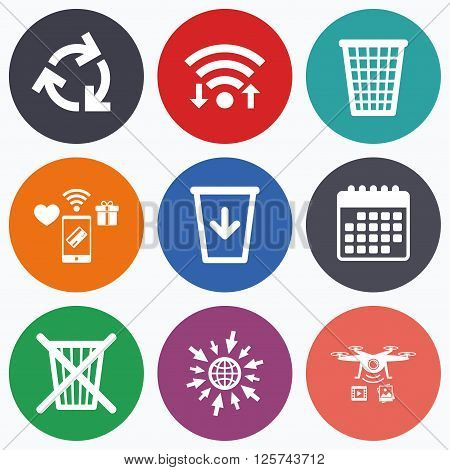 Wifi, mobile payments and drones icons. Recycle bin icons. Reuse or reduce symbols. Trash can and recycling signs. Calendar symbol.