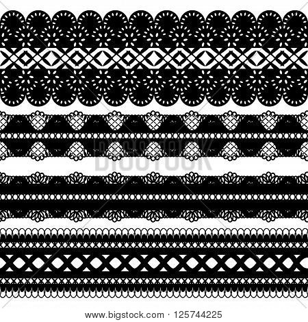 Set of four seamless black lace ribbon isolated on a white background. Vector illustration