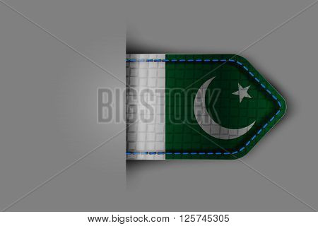 Flag of Pakistan in the form of a glossy textured label or bookmark. Vector illustration.