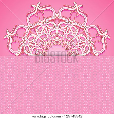 Pink delicate design greeting card or invitation. It can be used in web design as a background or banner. Vector illustration.