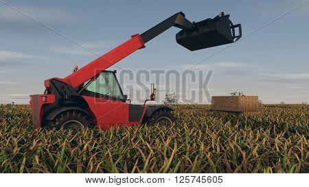 3d illustration of the hay loader