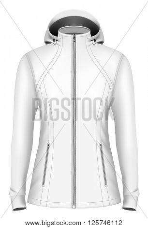 Softshell hooded jacket for lady. Fully editable handmade mesh. Vector illustration.