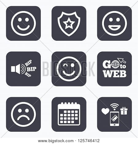 Mobile payments, wifi and calendar icons. Smile icons. Happy, sad and wink faces symbol. Laughing lol smiley signs. Go to web symbol.