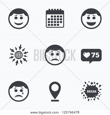 Calendar, like counter and go to web icons. Circle smile face icons. Happy, sad, cry signs. Happy smiley chat symbol. Sadness depression and crying signs. Location pointer.