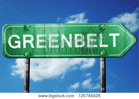 greenbelt road sign on a blue sky background