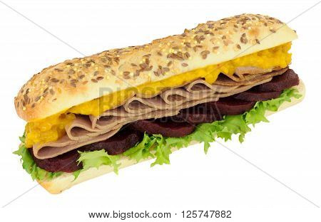Roast beef and beetroot with mustard pickle sub roll sandwich isolated on a white background