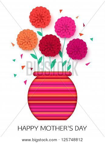 Original idea of Mothers Day - background with pot of flowers. Flowerpot isolated. Happy Mothers Day floral greeting card. Vector illustrator.