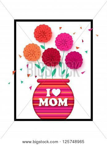 Mothers Day background with pot of flowers. Flowerpot isolated. Happy Mothers Day floral greeting card. Vector illustrator.