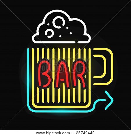 Retro neon sign beer bar and vintage electric arrow beer glass  pub sign. Pub sign bar or cafe glowing street illuminated lamp. Neon bar beer pub sign glowing street illuminated symbol vector.