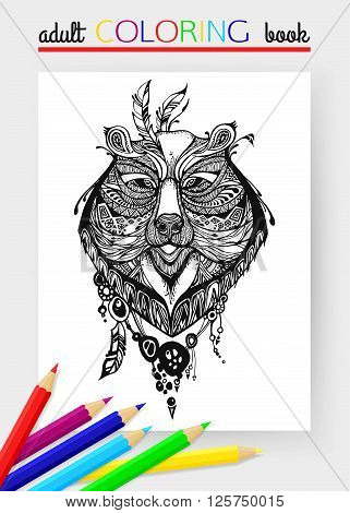 Adult Coloring Page with bear head. Bear head tattoo. Russian bear. Bear - symbol of Russia. Bear head vector illustration.