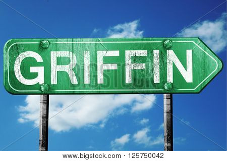 griffin road sign on a blue sky background