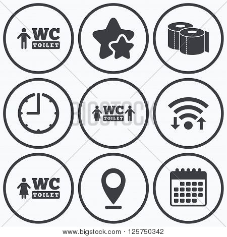 Clock, wifi and stars icons. Toilet paper icons. Gents and ladies room signs. Man and woman symbols. Calendar symbol.