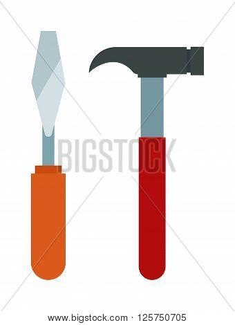 Set of wood processing tools hand equipment cartoon vector illustration. Hammer tool, hammer isolated cartoon icon. Hammer vector, hammer silhouette vector