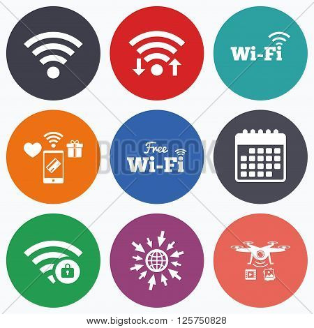 Wifi, mobile payments and drones icons. Free Wifi Wireless Network icons. Wi-fi zone locked symbols. Password protected Wi-fi sign. Calendar symbol.