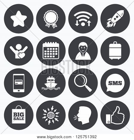 Wifi, calendar and mobile payments. Online shopping, e-commerce and business icons. Start up, award and customers like signs. Big sale, shipment and favorite symbols. Sms speech bubble, go to web symbols.