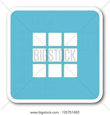 thumbnails grid blue square internet flat design icon