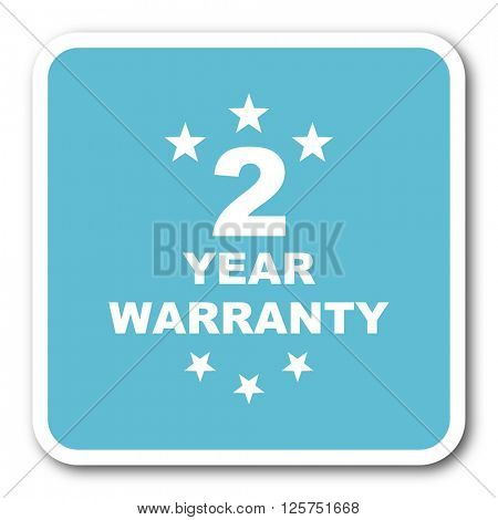 warranty guarantee 2 year blue square internet flat design icon