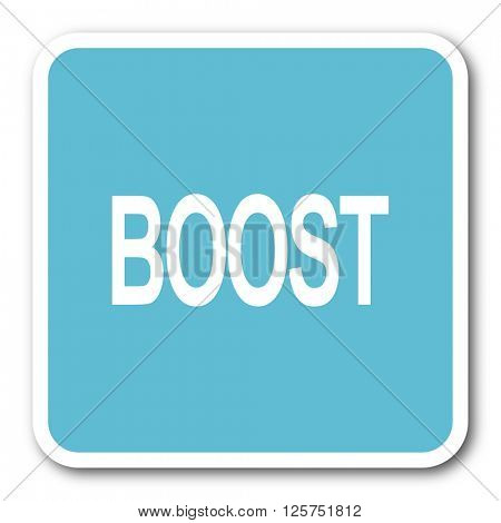 boost blue square internet flat design icon
