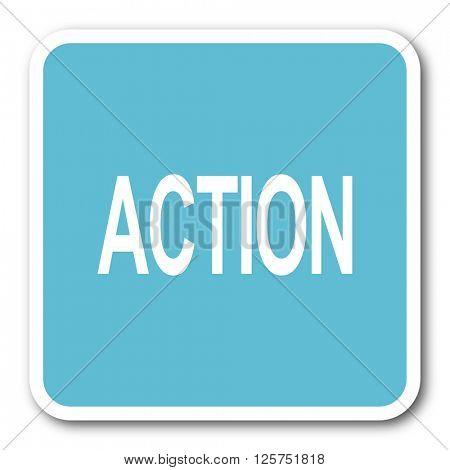 action blue square internet flat design icon