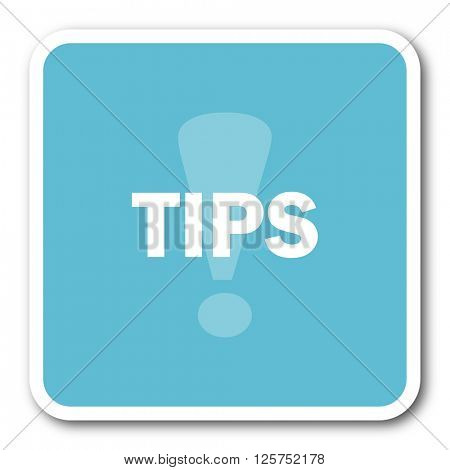 tips blue square internet flat design icon