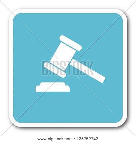 auction blue square internet flat design icon