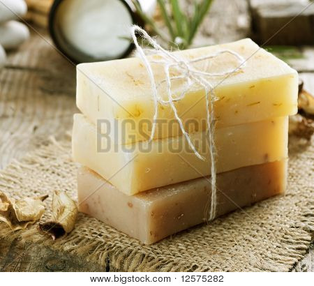 Handmade Soap closeup.Spa products